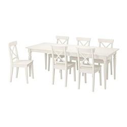 INGATORP/INGOLF - Meja dan 6 kursi, putih/putih