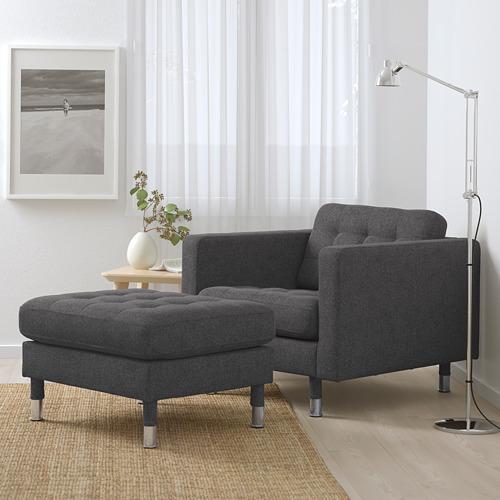 LANDSKRONA - kursi berlengan, Gunnared abu-abu tua/logam   IKEA Indonesia - PE680121_S4