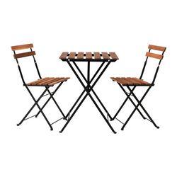 TÄRNÖ - Meja+2 kursi, luar ruang, hitam/diwarnai abu-abu cokelat