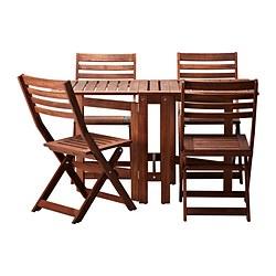 ÄPPLARÖ - Meja+4 kursi lipat, luar ruang, diwarnai cokelat