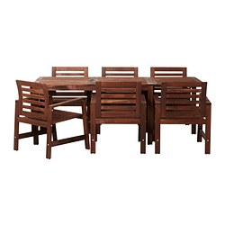 ÄPPLARÖ - Table+6 chairs w armrests, outdoor, brown stained