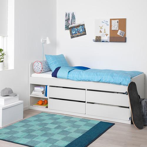 SLÄKT bed frame w storage+slatted bedbase