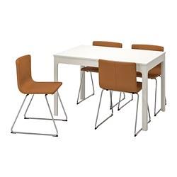 BERNHARD/EKEDALEN - Meja dan 4 kursi, putih/Mjuk emas-cokelat