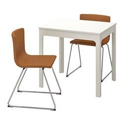 BERNHARD/EKEDALEN - Meja dan 2 kursi, putih/Mjuk emas-cokelat