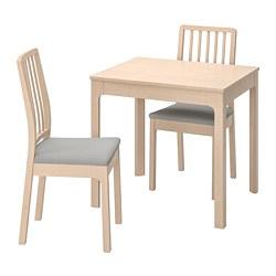 EKEDALEN/EKEDALEN - Meja dan 2 kursi, kayu birch/Orrsta abu-abu muda