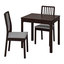 EKEDALEN/EKEDALEN - Meja dan 2 kursi, cokelat tua/Orrsta abu-abu muda
