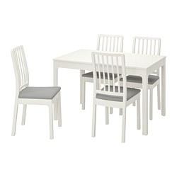 EKEDALEN/EKEDALEN - Meja dan 4 kursi, putih/Orrsta abu-abu muda