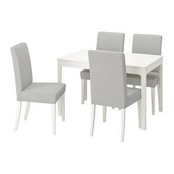 HENRIKSDAL/EKEDALEN - Meja dan 4 kursi, putih/Orrsta abu-abu muda