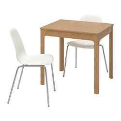 LEIFARNE/EKEDALEN - Meja dan 2 kursi, kayu oak/putih