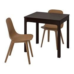 ODGER/EKEDALEN - Meja dan 2 kursi, cokelat tua/cokelat