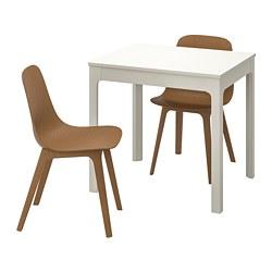 ODGER/EKEDALEN - Meja dan 2 kursi, putih/cokelat