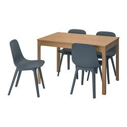 ODGER/EKEDALEN - Meja dan 4 kursi, kayu oak/biru