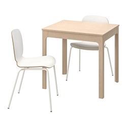 SVENBERTIL/EKEDALEN - Meja dan 2 kursi, kayu birch/putih