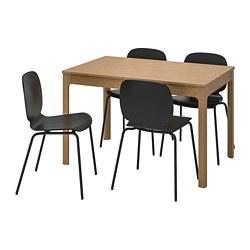 SVENBERTIL/EKEDALEN - Meja dan 4 kursi, kayu oak/hitam