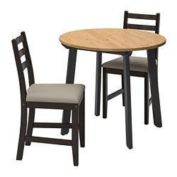 LERHAMN/GAMLARED - Meja dan 2 kursi, warna antik lembut hitam-cokelat/Vittaryd krem