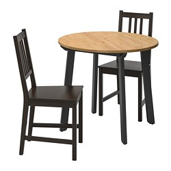 STEFAN/GAMLARED - Meja dan 2 kursi, warna antik lembut/cokelat-hitam