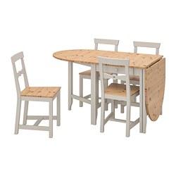GAMLEBY - Meja dan 4 kursi, warna antik lembut/abu-abu