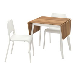 TEODORES/IKEA PS 2012 - Meja dan 2 kursi, bamboo white/white