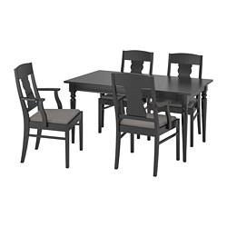 INGATORP/INGATORP - Meja dan 4 kursi, hitam