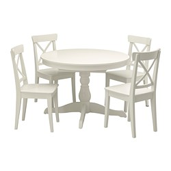 INGATORP/INGOLF - Table and 4 chairs, white/white