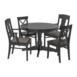 INGATORP/INGOLF - Meja dan 4 kursi, hitam/Nolhaga abu-abu/krem