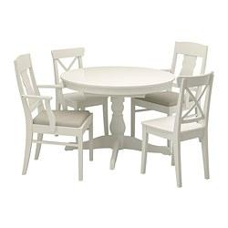 INGATORP/INGOLF - Meja dan 4 kursi, putih/Nordvalla krem