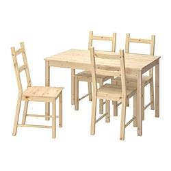 IVAR/INGO - Meja dan 4 kursi, kayu pinus