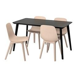 ODGER/LISABO - Meja dan 4 kursi, hitam/krem