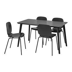 SVENBERTIL/LISABO - Meja dan 4 kursi, hitam/hitam