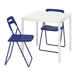NISSE/MELLTORP - Table and 2 folding chairs, white/dark blue-lilac, 75 cm