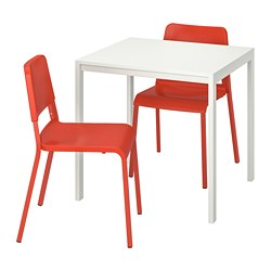 MELLTORP/TEODORES - Table and 2 chairs, white/bright orange