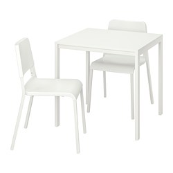 MELLTORP/TEODORES - Table and 2 chairs, white/white