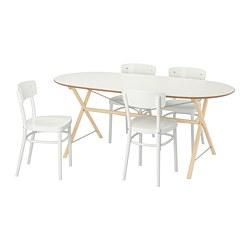 IDOLF/SLÄHULT/DALSHULT - Meja dan 4 kursi, kayu birch/putih
