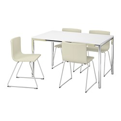 TORSBY/BERNHARD - Meja dan 4 kursi, high-gloss putih/Kavat putih