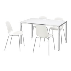 TORSBY/LEIFARNE - Table and 4 chairs, glass white/white, 135 cm