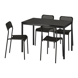 TÄRENDÖ/ADDE - Table and 4 chairs, black/black