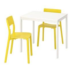 JANINGE/VANGSTA - Meja dan 2 kursi, putih/kuning