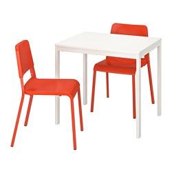 TEODORES/VANGSTA - Meja dan 2 kursi, putih/oranye terang