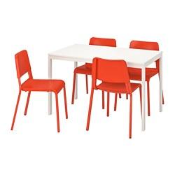 TEODORES/VANGSTA - Meja dan 4 kursi, putih/oranye terang