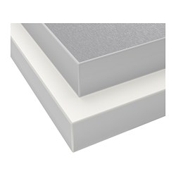HÄLLESTAD - Permukaan meja dapur, dua sisi, putih kesan aluminium/dgn ujung efek logam laminasi