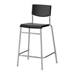 STIG - Bar stool with backrest, black/silver-colour