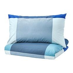 BRUNKRISSLA - Sarung quilt dan 4 sarung bantal, biru/abu-abu