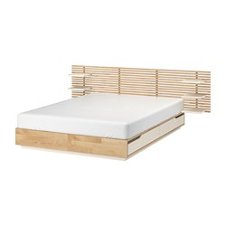 MANDAL - Rangka tmpt tidur dg kepala tpt tdr, kayu birch/putih