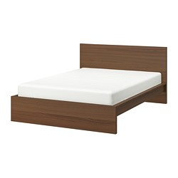 MALM - Bed frame, high, brown stained ash veneer/Lönset