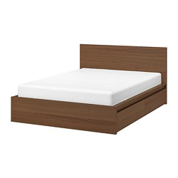 MALM - Bed frame, high, w 2 storage boxes, brown stained ash veneer/Lönset