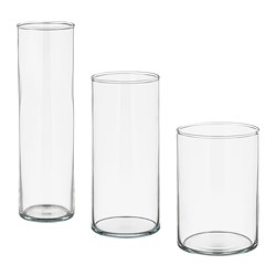 CYLINDER - Vase, set of 3, clear glass