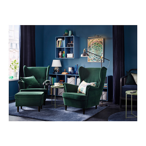 STRANDMON - kursi bersayap, Djuparp hijau tua | IKEA Indonesia - PH155488_S4