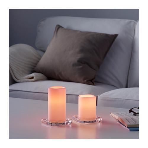 GODAFTON lilin blok LED d/l.ruang, set isi 2