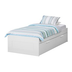 BRIMNES - Rangka tempat tidur dg penyimpanan, putih/Luröy