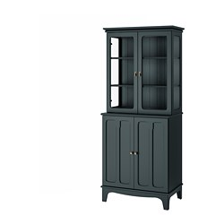LOMMARP - Cabinet with glass doors, dark blue-green